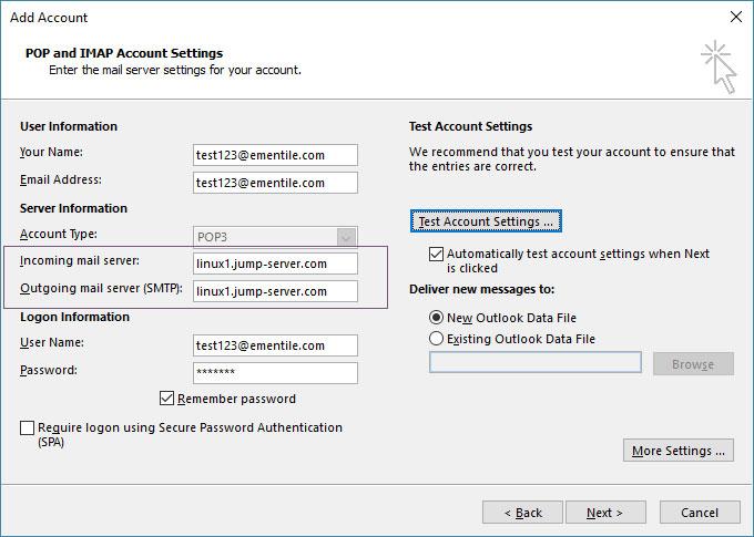 تنظیم ایمیل در اوتلوک با SSL